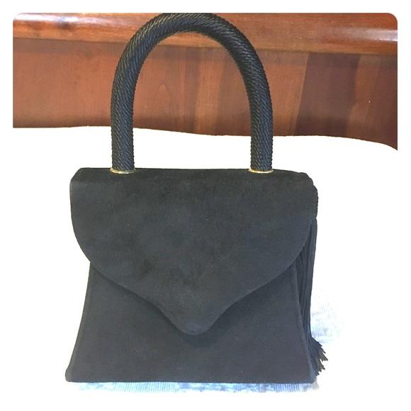 Vintage Handbags - Vintage Suede Top Handle Mini Purse